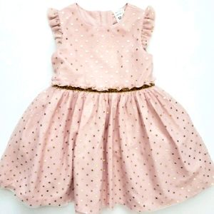 Nwot Carters Blush Pink Tulle Dress w/Gold Dots